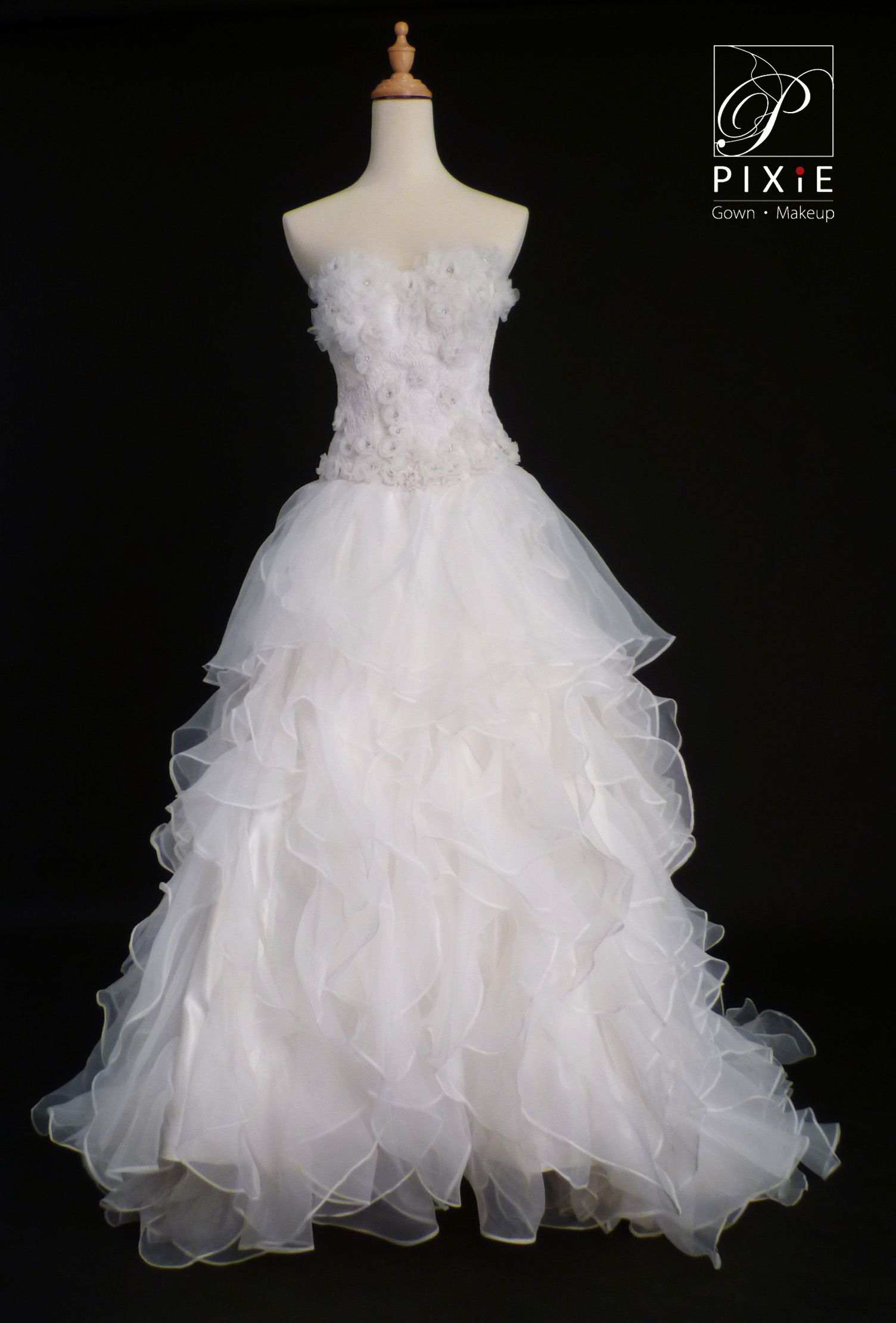 Pixie Wedding Dress With Floral Embellishment And Ruffles Skirt
